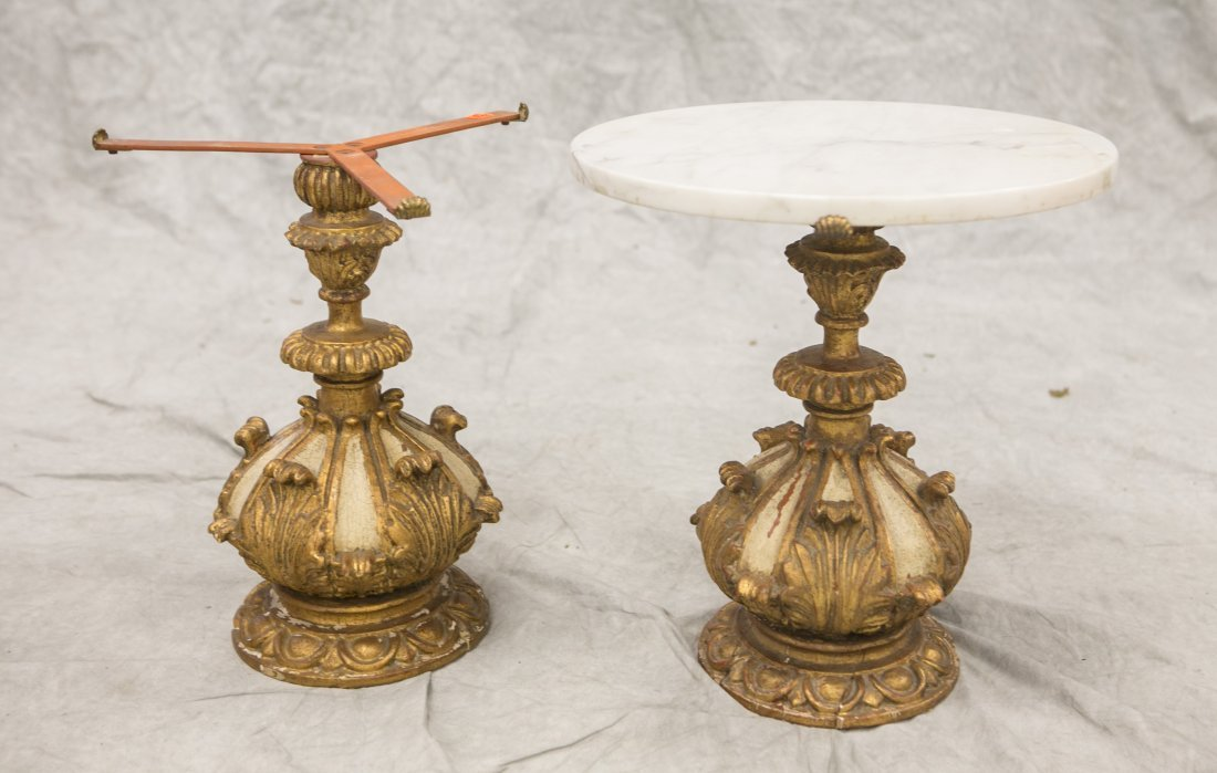 2 Palladio Carved and gilded Wood Italian marble top - 8