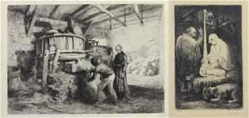 Eugene Higgins Christmas etching 1927 signed in