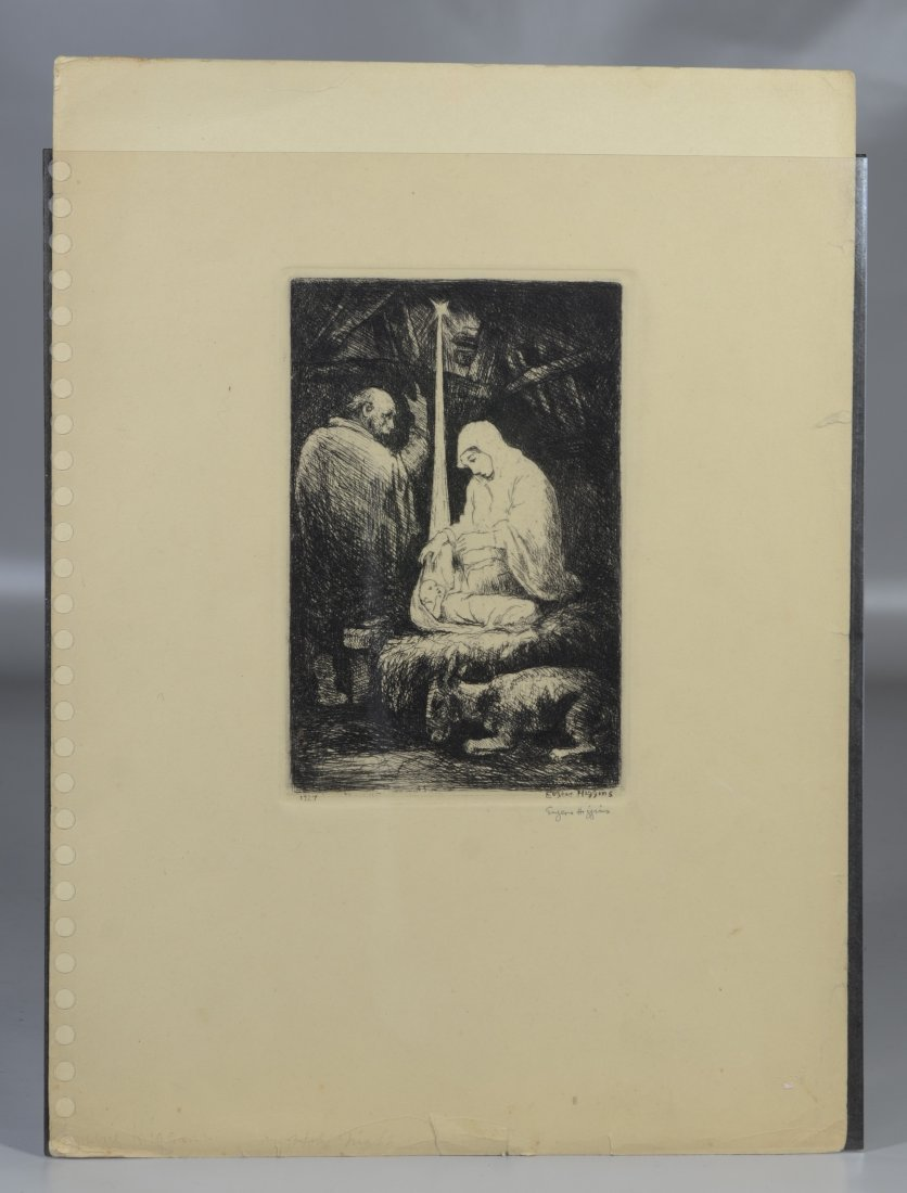 Eugene Higgins- Christmas- etching, 1927, signed in - 4