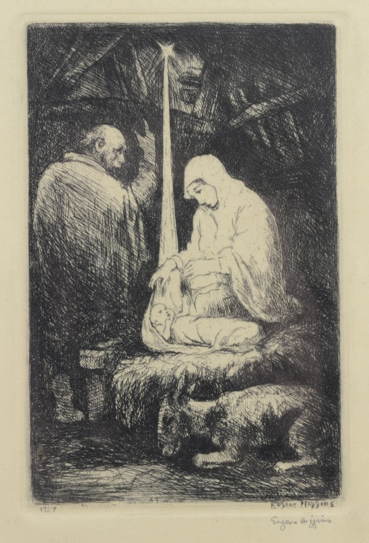 Eugene Higgins- Christmas- etching, 1927, signed in - 5