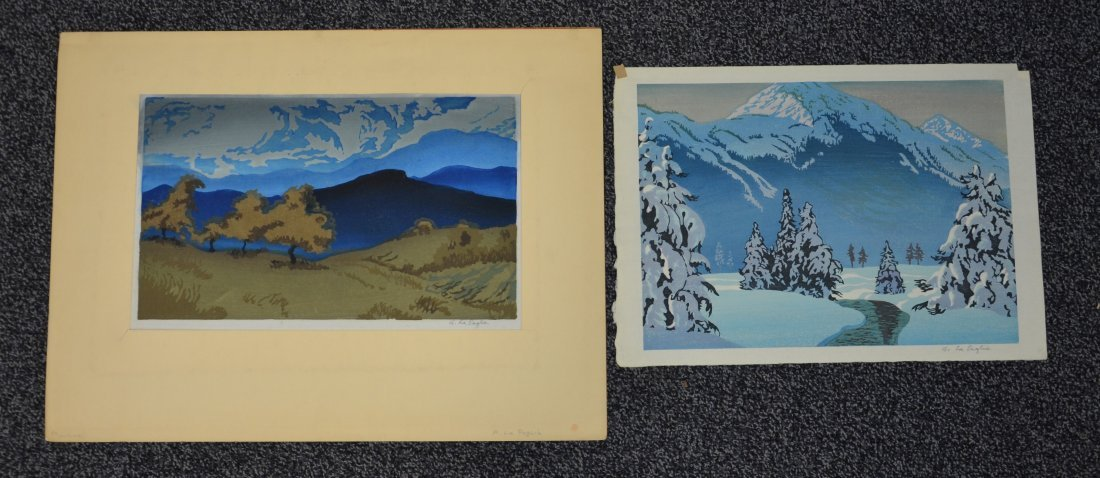 Anthony Lapaglia, 20th c, (2) woodblock prints, Snowy