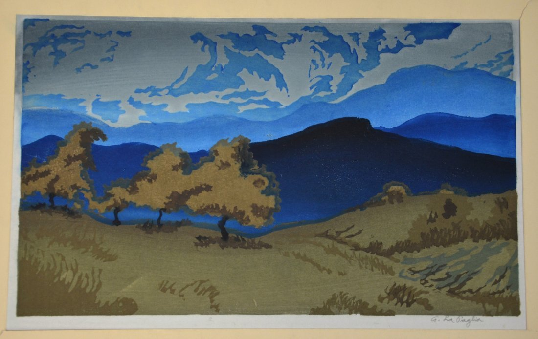 Anthony Lapaglia, 20th c, (2) woodblock prints, Snowy - 2