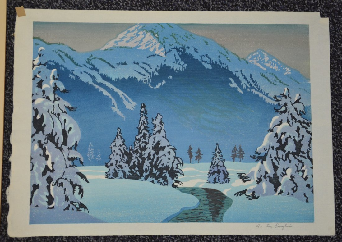 Anthony Lapaglia, 20th c, (2) woodblock prints, Snowy - 3
