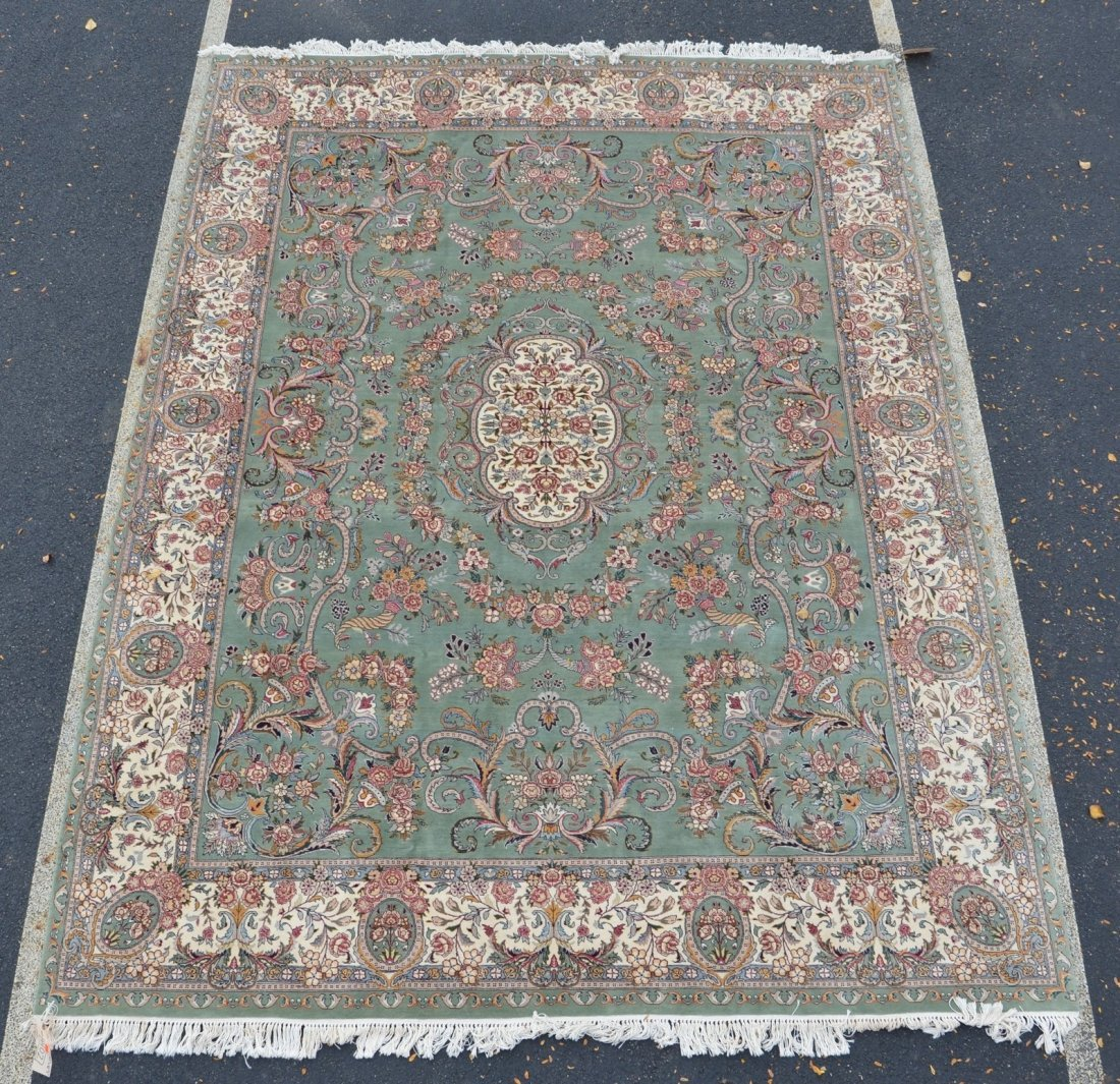 "Green and Ivory Kirman carpet, 9'1"" x 12'5"""