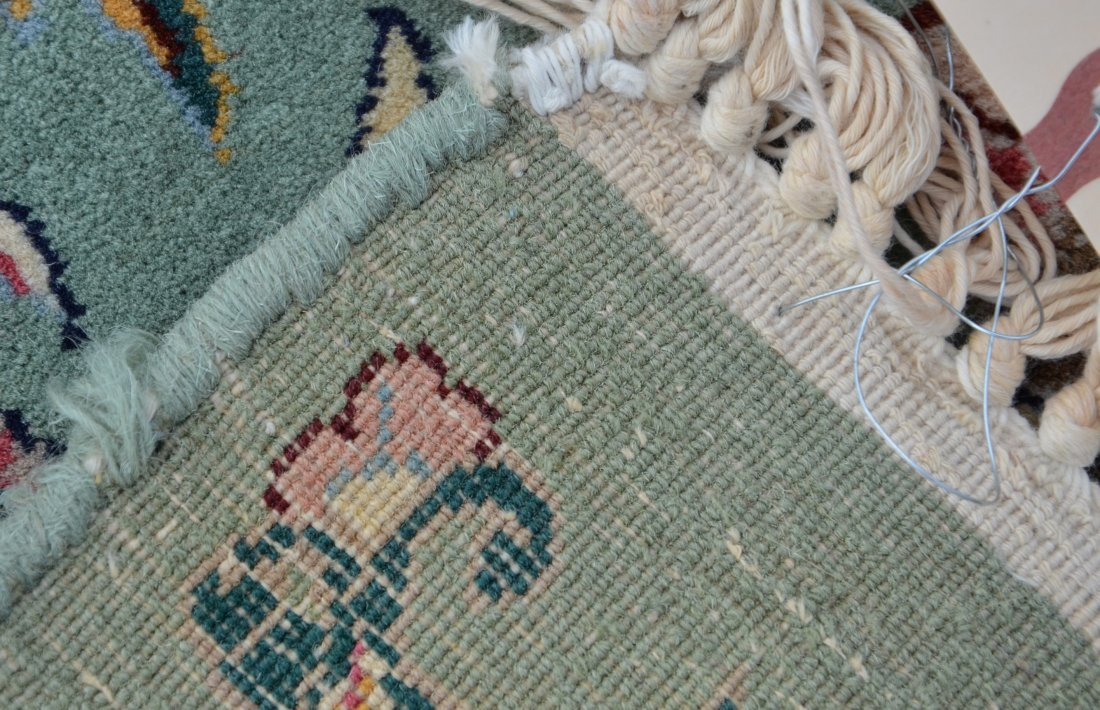 "Green and Ivory Kirman carpet, 9'1"" x 12'5"" - 2"