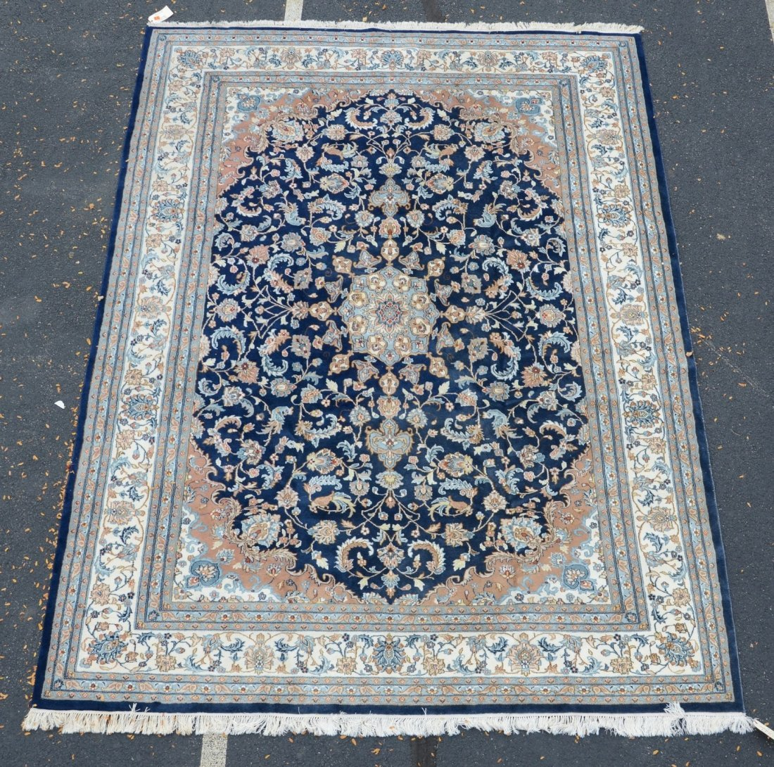 """Indo Keshan carpet with blue field, 9' x 12'2"""""""