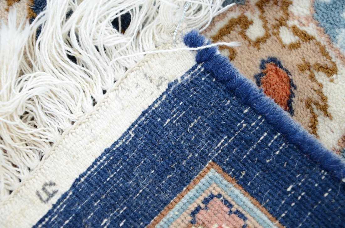 """Indo Keshan carpet with blue field, 9' x 12'2"""" - 2"""