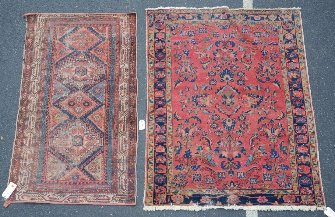 "(2) Carpets: Hamadan Carpet, 5' x 6'7"" and Caucasian,"