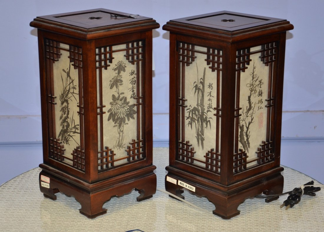 """Pair of Korean electric lanterns, 15"""" h"""