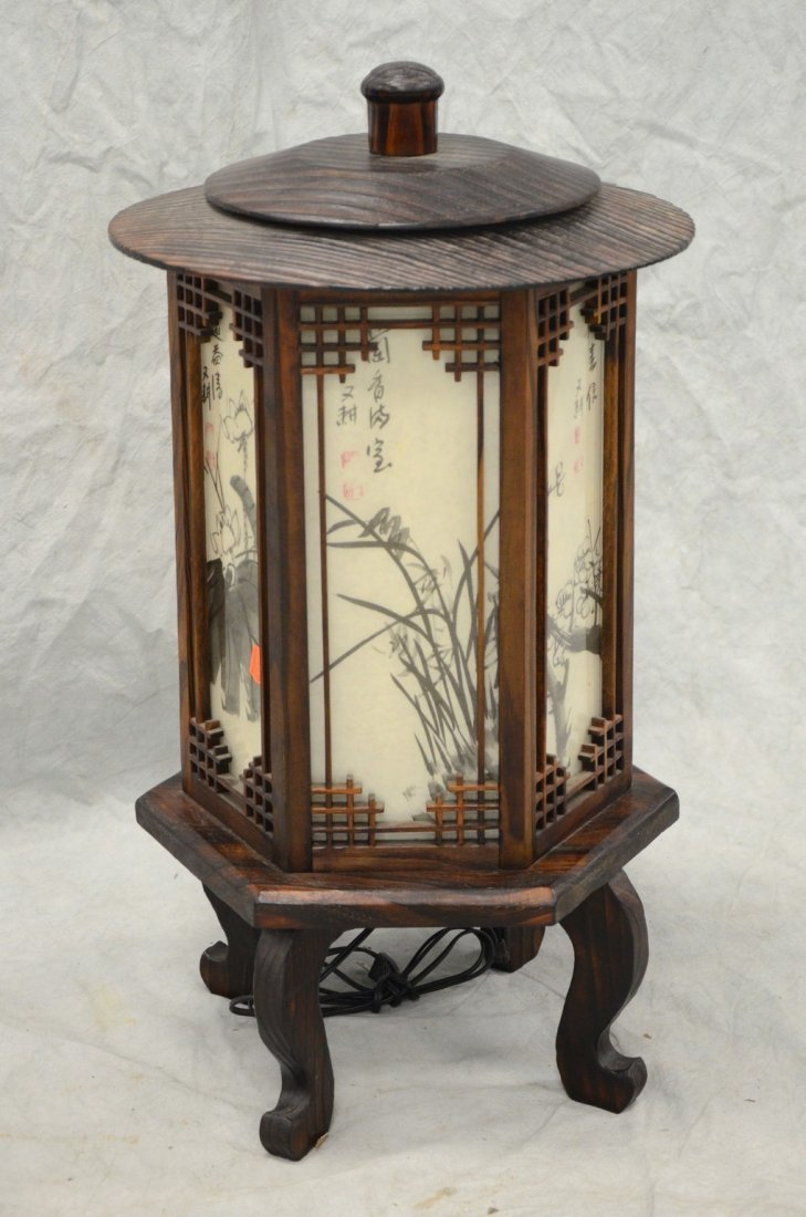 "Korean electric hexagonal lantern, 28"" h - 2"