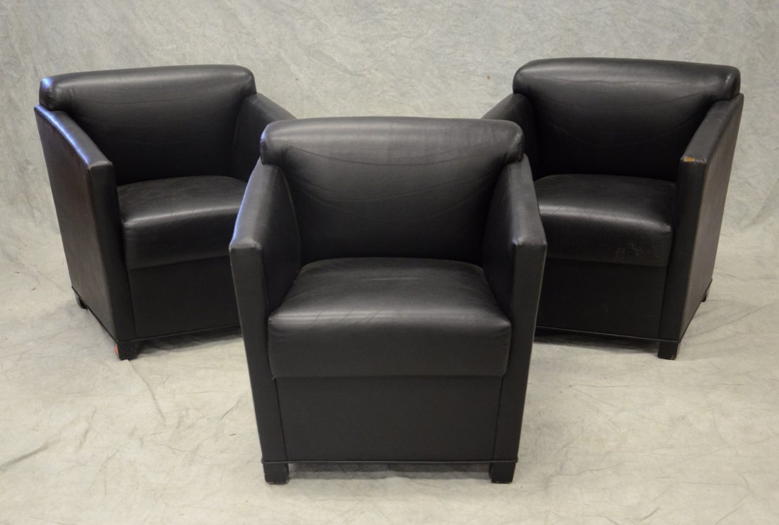 (3) Brayton black leather tub chairs, 1 with damage to