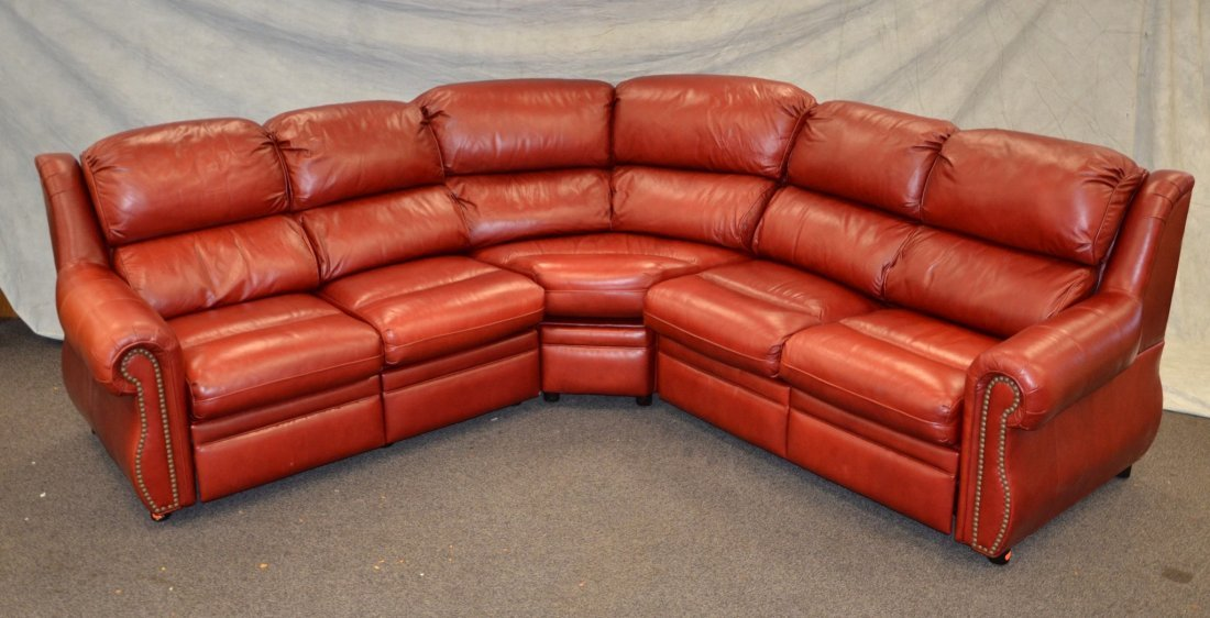 3-piece sectional red leather sofa with recliner ends - 2