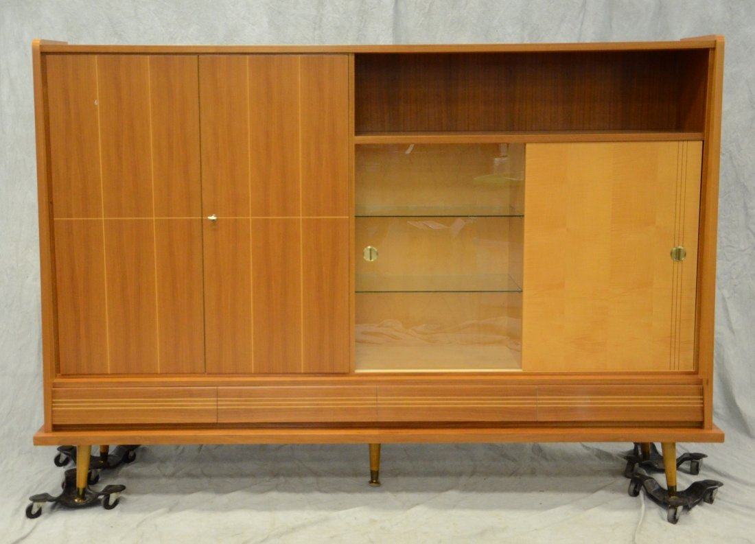 Teak mid-century design wall unit, sliding doors, 4