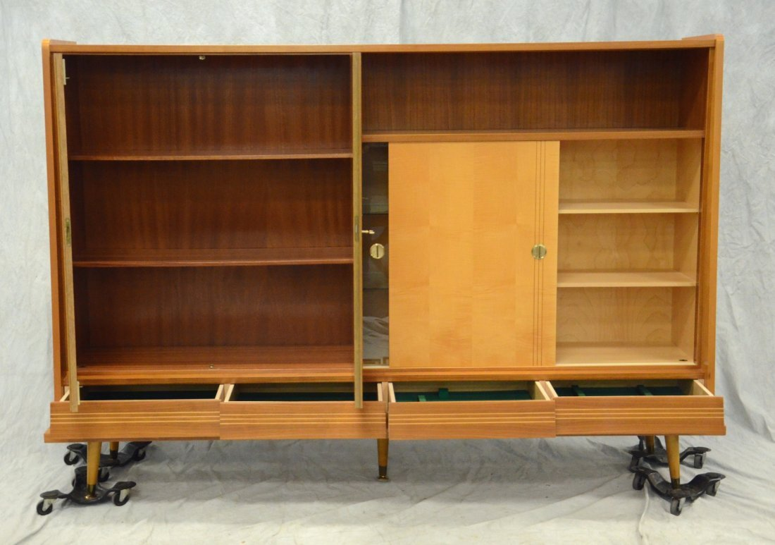 Teak mid-century design wall unit, sliding doors, 4 - 2