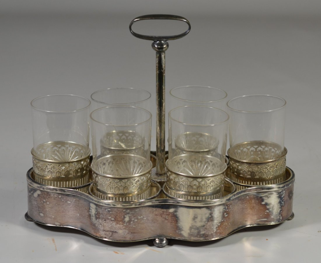 Assembled drink set, including (6) sterling silver