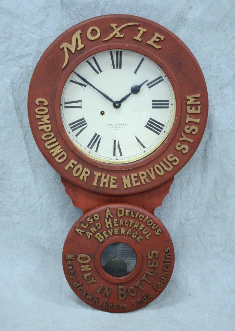 "Replica Baird Moxie advertising clock, 32"" h"