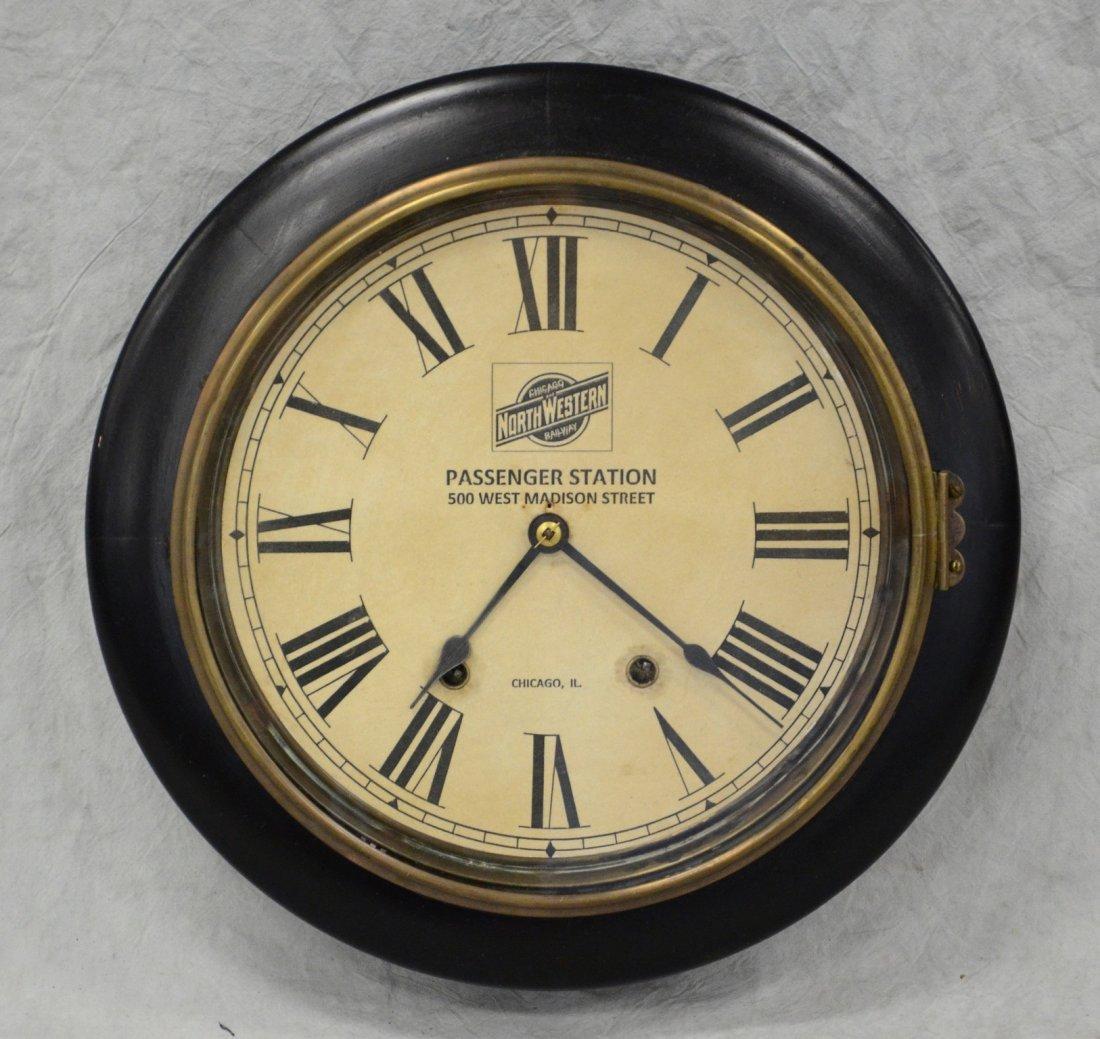 Black lacquer clock, Chicago Northwestern Railway