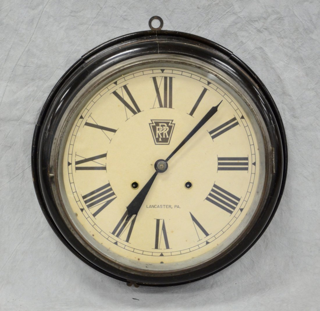 """Black lacquer gallery clock, paper dial """"PRR,"""