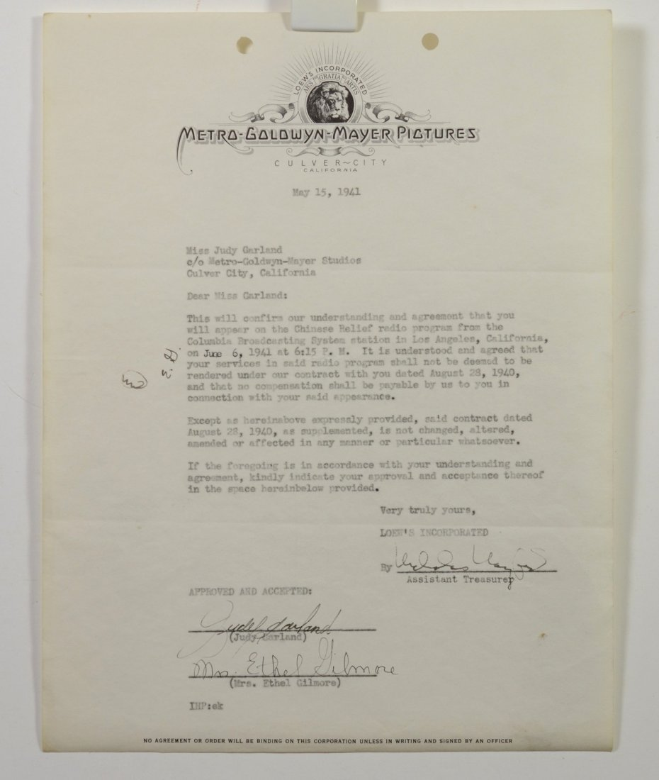 Judy Garland autographed letter from Metro Goldwyn
