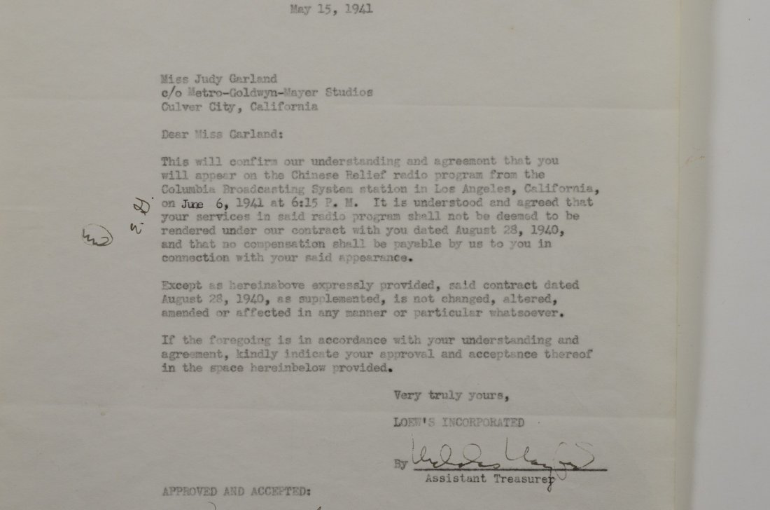Judy Garland autographed letter from Metro Goldwyn - 3