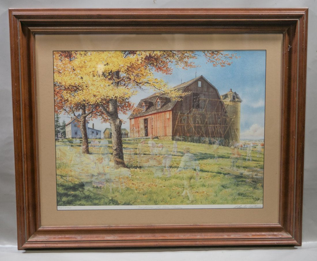"Charles L Peterson ""Neighbors: Barn Raising"" Lithograph"