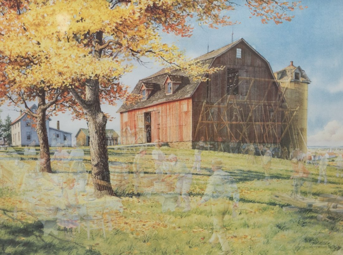 "Charles L Peterson ""Neighbors: Barn Raising"" Lithograph - 2"