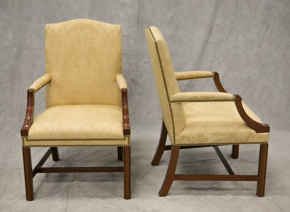 Pair Kindel Chippendale style open arm chairs, solid