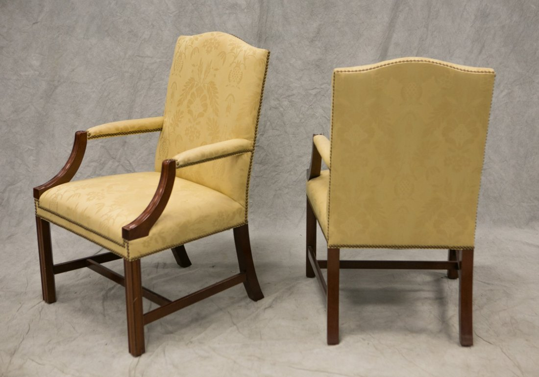 Pair Kindel Chippendale style open arm chairs, solid - 2