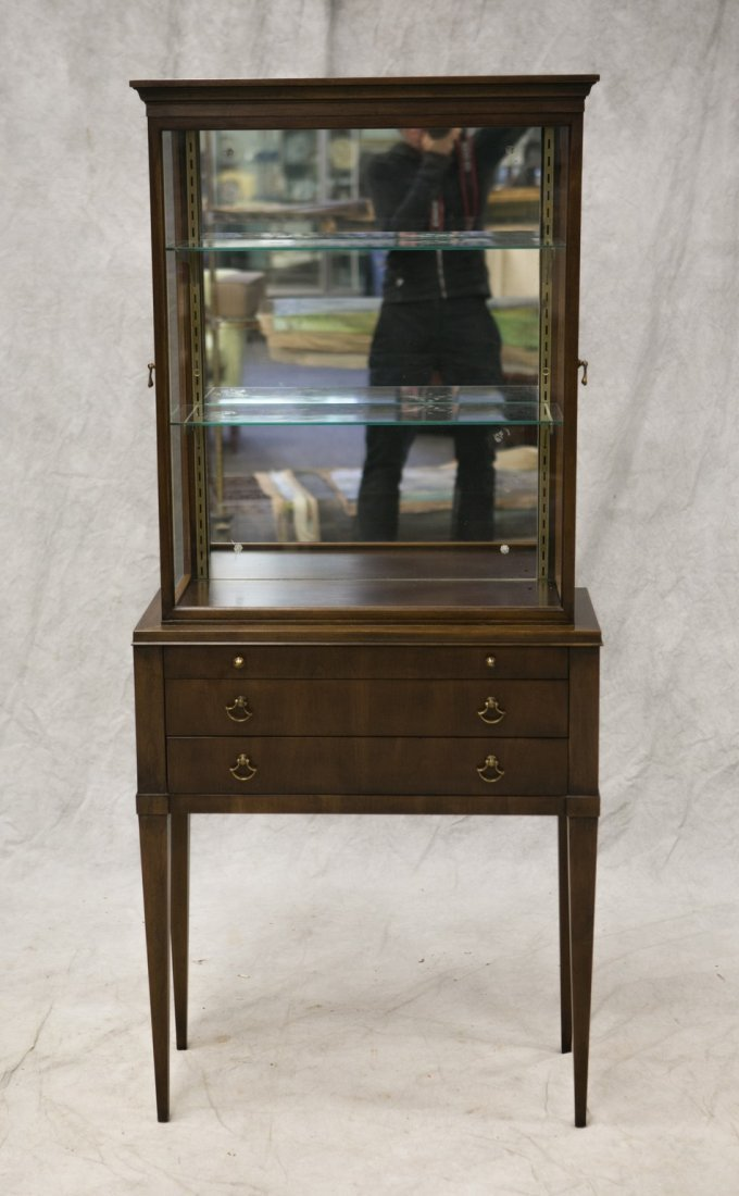 Custom cherry vitrine curio cabinet, cherry veneers and - 2