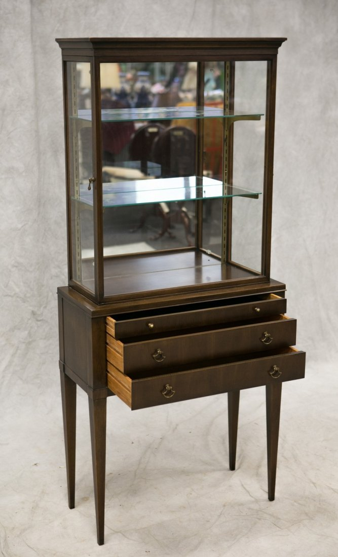 Custom cherry vitrine curio cabinet, cherry veneers and - 3