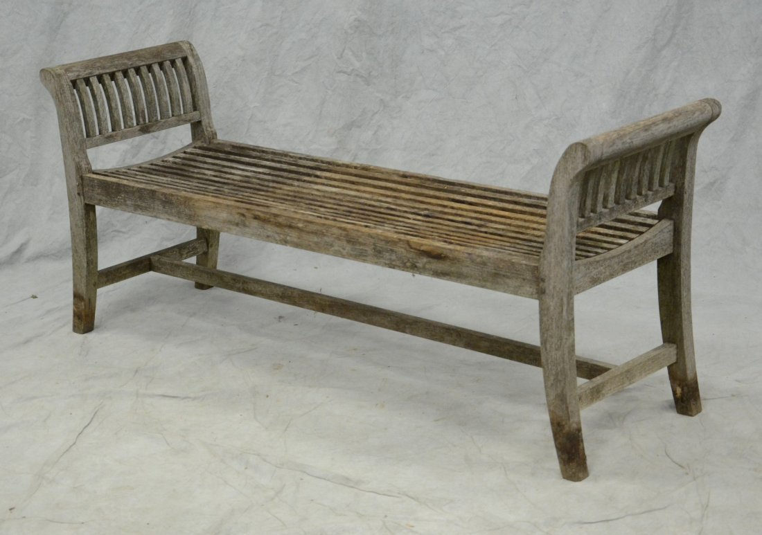 "Asian teak slatted patio bench, solid teak, 26"" x 61"" x"