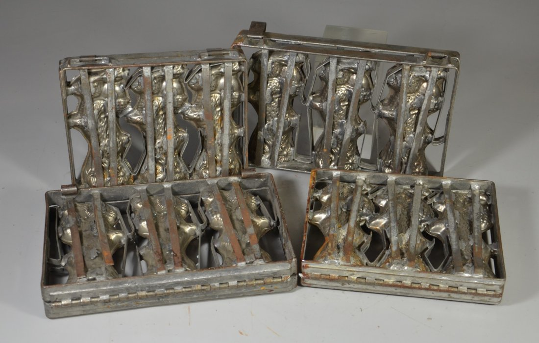 (4) Vintage chocolate candy molds, Easter rabbits