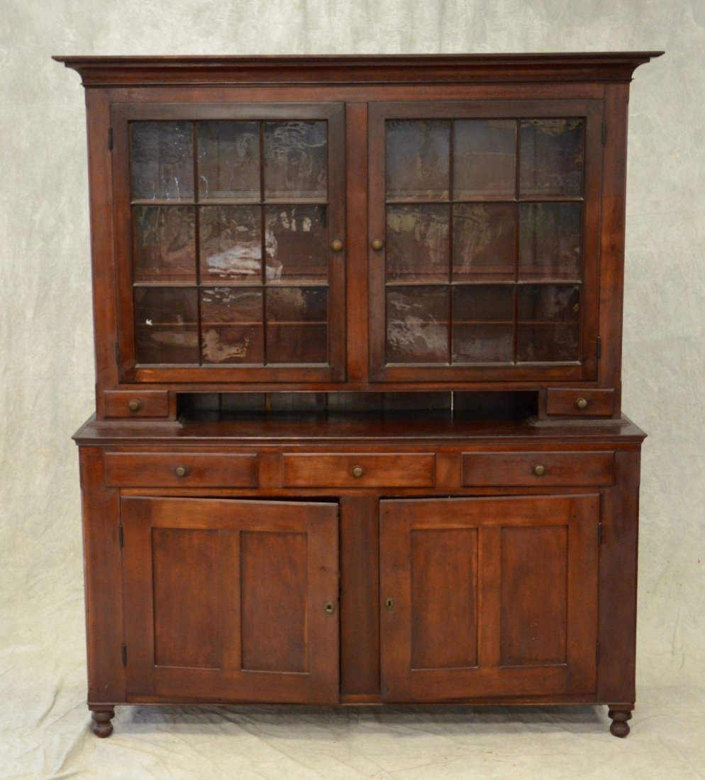 2-Piece cherry Dutch cupboard, top section with 2