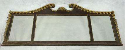 3 part gilt and mahogany framed Federal style mirror