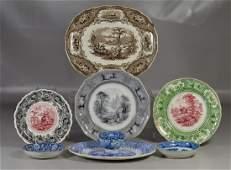 8 pcs Staffordshire transferware blue Adams