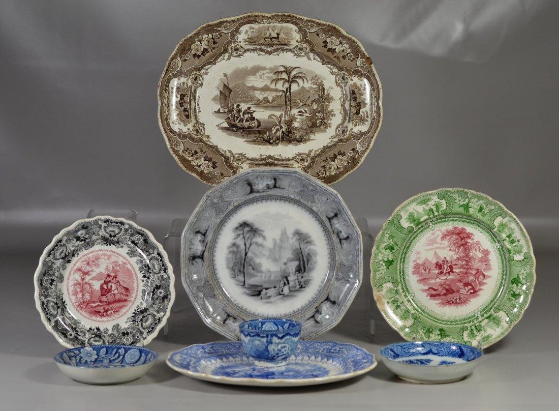 (8) pcs Staffordshire transferware, blue Adams
