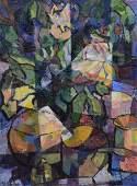 R Shapiro modern still life painting with tankard and
