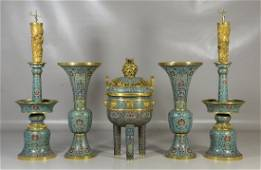 Five (5) piece Chinese cloisonne garniture set to