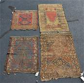 4 Turkish/Caucasian throw rugs, wear and damage, Prayer