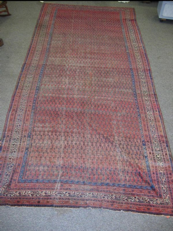 4: 8.4 x 19.4 Persian hall carpet, wear throughout
