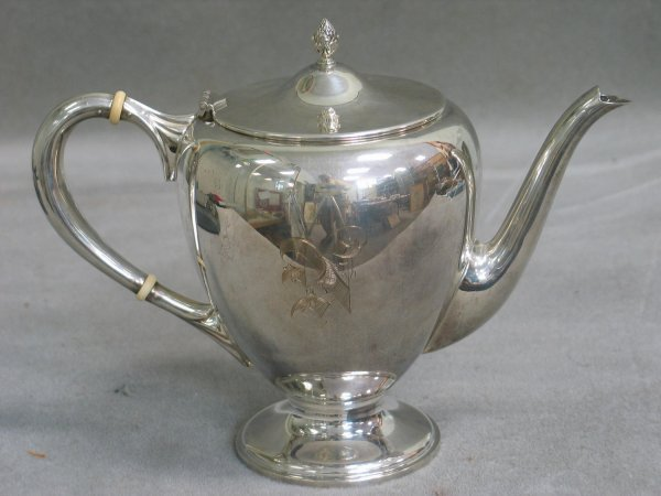 135: Sterling silver teapot by M. Fred Hirsch Co