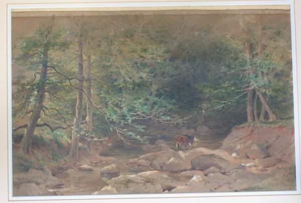 532: F.O.C. Darley watercolor Cows in a rocky stream.