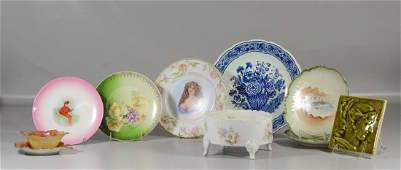 10 Pieces of pottery and porcelain to include a German