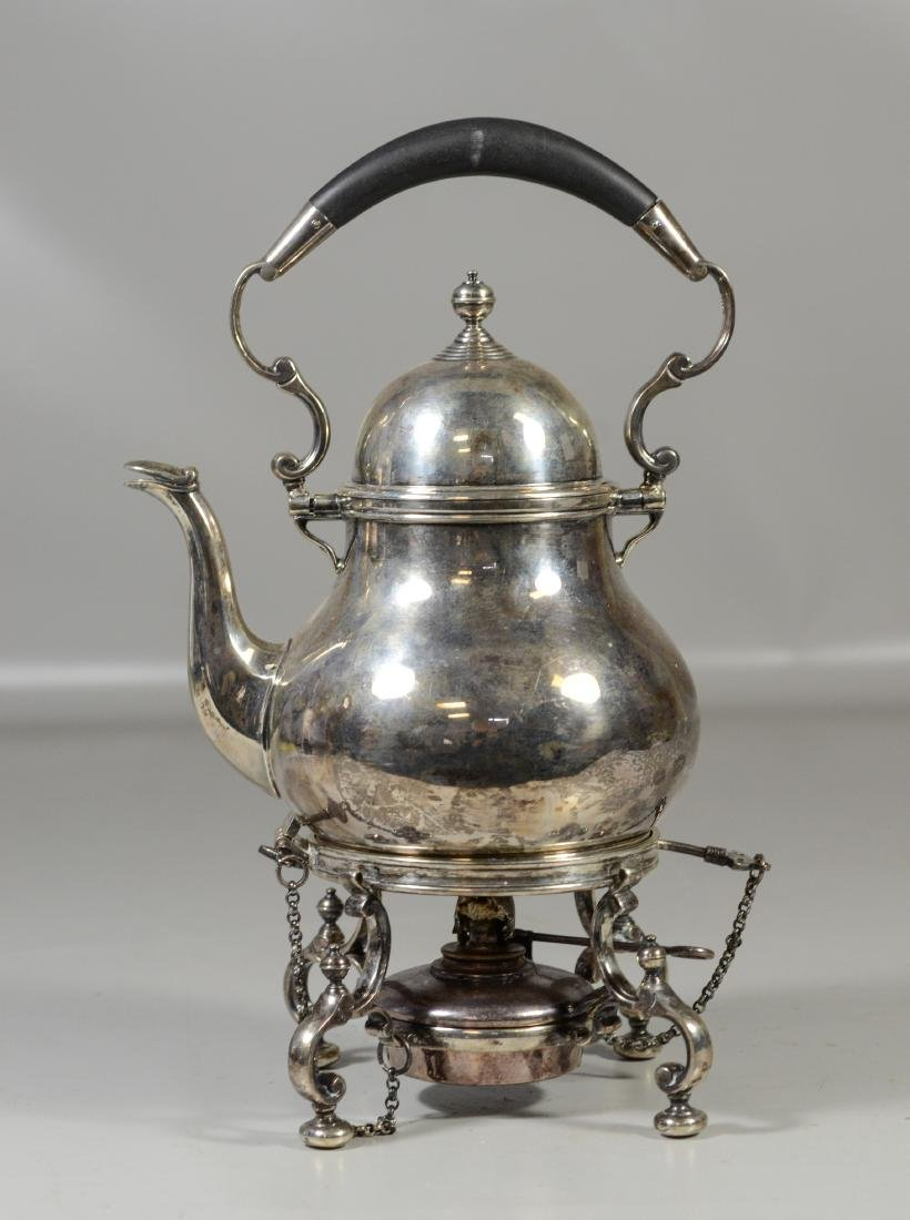 English sterling silver tea kettle with warming stand
