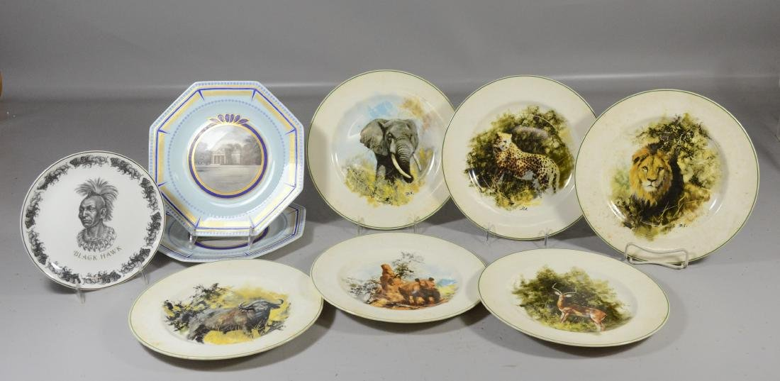 (9) Wedgwood plates, to include: 6 WWF; 1 Black Hawk