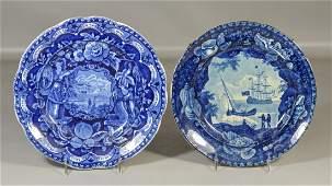 2 Staffordshire historical dark blue plates, Clews
