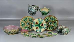 18 Pieces Etruscan Majolica, to include: shell &
