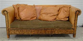 Ralph Lauren brown leather sofa approx 36 h 88 l