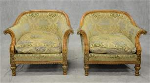 Pair of Century carved  upholstered Continental style