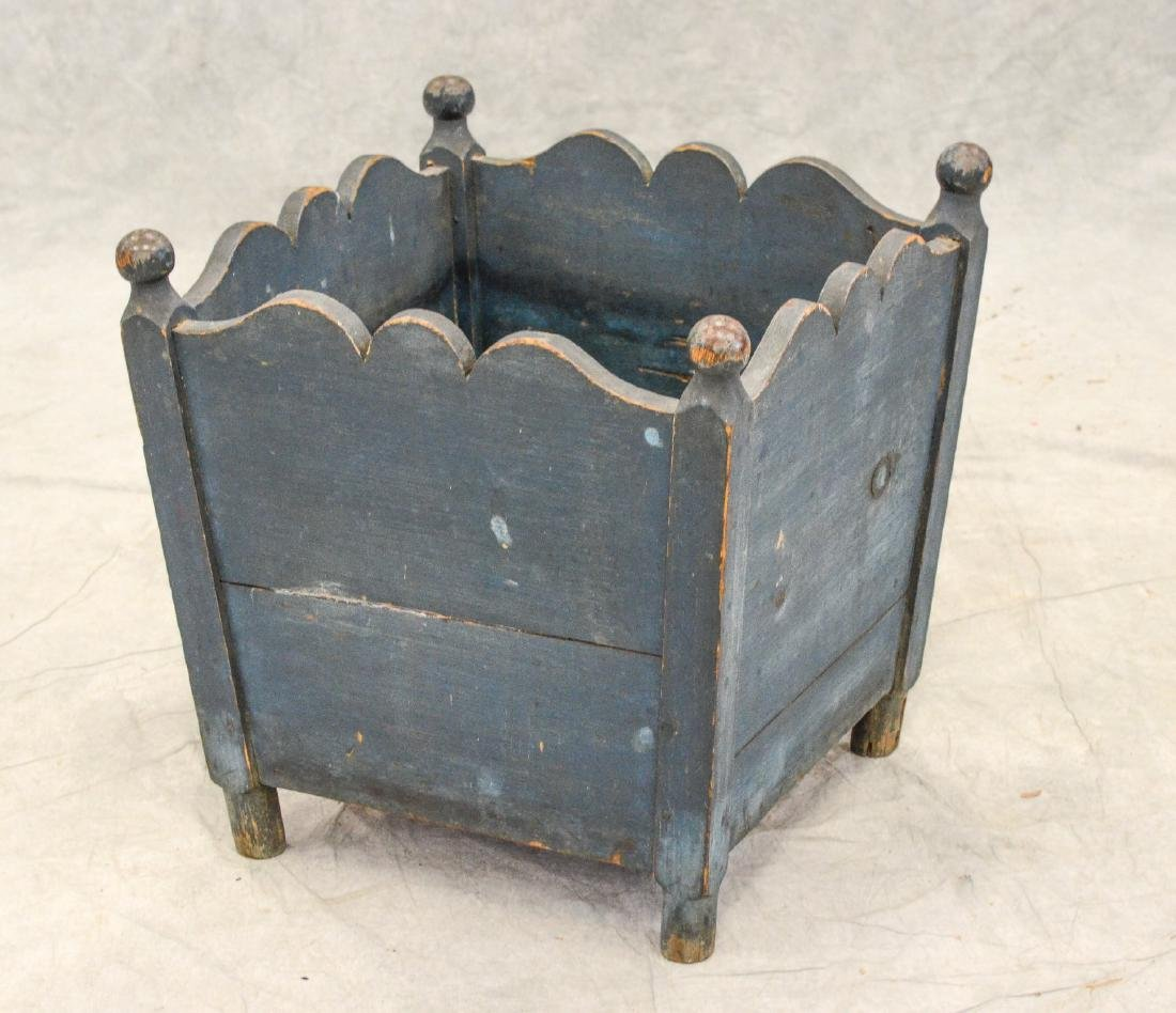 Blue painted pine planter, splayed square body with